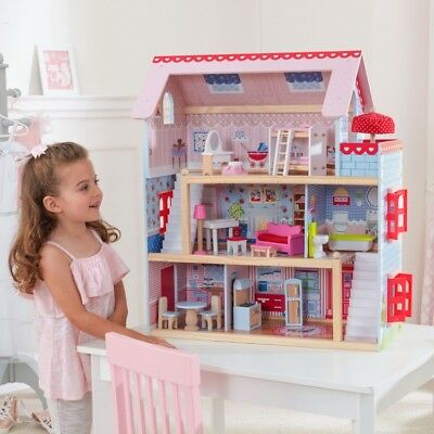 Girls Wooden Dollhouse Large Three Level Wood Doll House Furniture Kids Play Toy