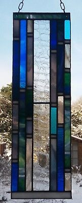 Stained Glass Panel - Waterfall Suncatcher - Home Decor - Unique Gift -1 Off
