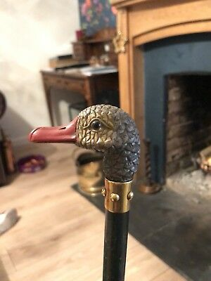 Antique Jas Smith & Sons London  Hand Carved Duck Head Umbrella / Stick
