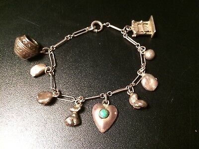 Sterling Silver Indian Native Bracelet With Charms FREE SHIPPING