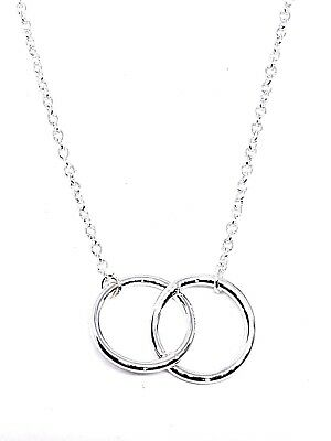 Double Karma Ring Circle Necklace Silver Bohemian Interlocking Rings Pendant