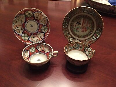 PAIR OF Antique 1800'S ROSE MEDALLION CHINESE EXPORT PORCELAIN CUPS AND SAUCERS