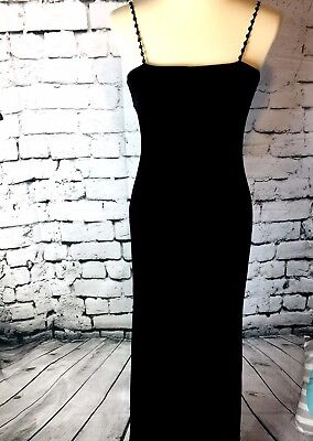 Vintage 90s velvet dress womens black long gown party special occasion size 6-8