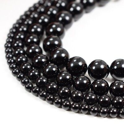 """Natural Black Onyx Beads Round Smooth 15"""" Strand Loose 4mm 6mm 8mm 10mm 12mm"""