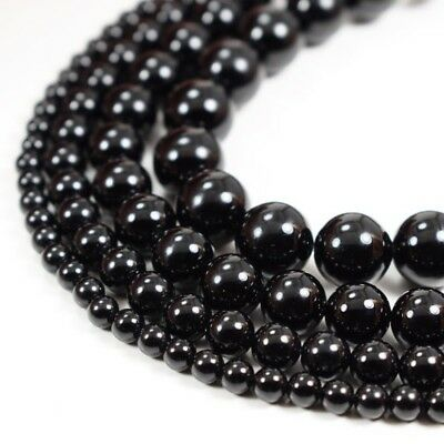"Natural Black Onyx Beads Round Smooth 15""Strand 4mm 6mm 8mm 10mm"