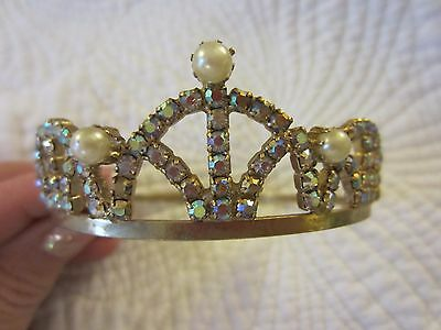 "Ornate French Repouss Brass Tiara Doll Crown Pearl Rhinestone Jewels 18"" doll"