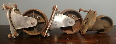 3 Old Vintage Metal Iron Large Castor Cart Wheels Industrial Bond Bassick