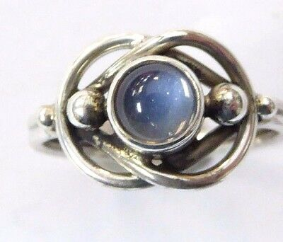 Georg Jensen Sterling Silver Moonstone Ring # 5 Size 6 New Old Stock Retired