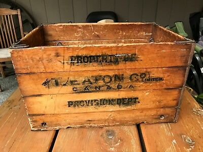 Antique Wooden Folding Grocery Box Crate T Eaton Co Canada Provision Dept