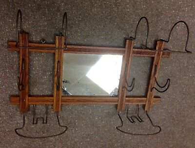 Vintage Antique Oak Wall Mirror Coat and Hat Rack - c1930's ~ Beautiful!