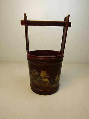 Antique Japanese Metal Bucket Hand Painted w. Mother of Pearl Inlays