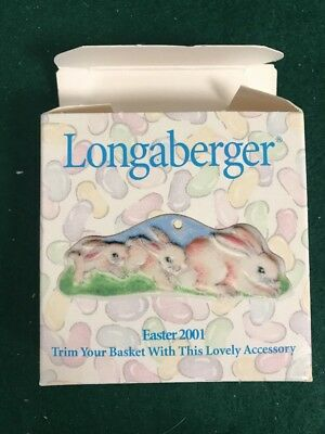 """Longaberger Ceramic Tie - On """"3 BUNNIES EASTER 2001"""" -New In Box"""