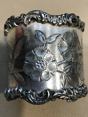 Victorian Silver Plated Napkin Ring, BEAUTIFUL FLOWERS
