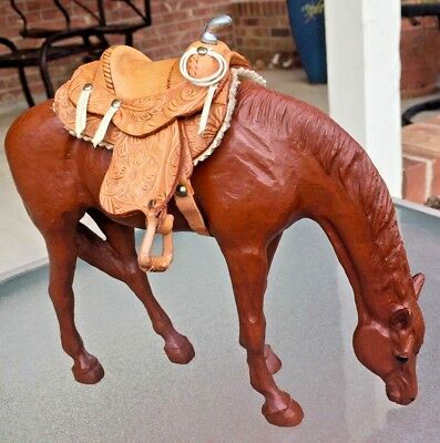 Rare Pair >1941 Patented Goldstein Leather Saddle & Wood-Color Resin Horse<