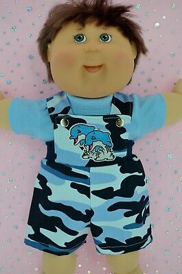 "Play n Wear Doll Clothes For 16"" Cabbage Patch CAMOUFLAGE BIB DUNGAREE~T-SHIRT"