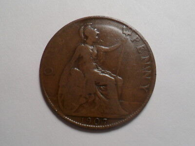 1907 Nice Great Britain Bronze One Penny Mintage 47,322,000!!