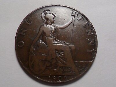 1909  Nice Great Britain Bronze One Penny Mintage 19,617,000!!!