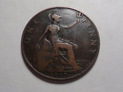 1910 Nice Great Britain Bronze One Penny Mintage 29,549,000!!