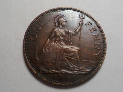 1944 Better Grade Great Britain Bronze One Penny Mintage 42,600,000!!