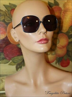 Elegant LARGE BLUE FRAME Sunglasses MADE IN ITALY Slim Clean Lines STUNNING