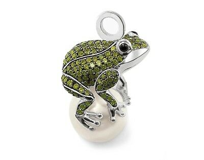 ❤️925 Sterling Silver Pendant Frog And Pearl