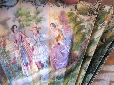 Victorian Woman's Paper Fan Lithographed Hand Watercolor COURTING SCENES