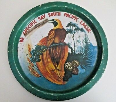 """South Pacific Lager Australia Beer Advertising Bar Pub Tray 12"""" Vintage"""