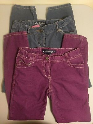 MINI BODEN 2 Pairs of Girls Corduroy Pants Purple - 9Y and Gray -10Y F2