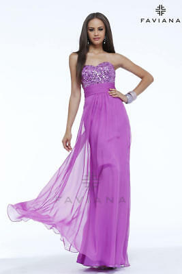 NWT Faviana Gown, Orchid Sequins and Chiffon, Size 10, Beautiful and Flowing