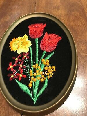 Embroidered Velvet Art With Tulip Butter Cup Foral Velvet Art Ecstasy brand