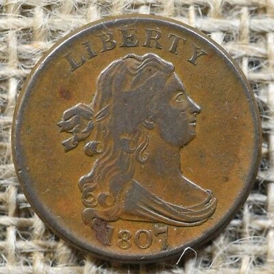 1807 1/2c Draped Bust Half Cent - Great Planchet and Color