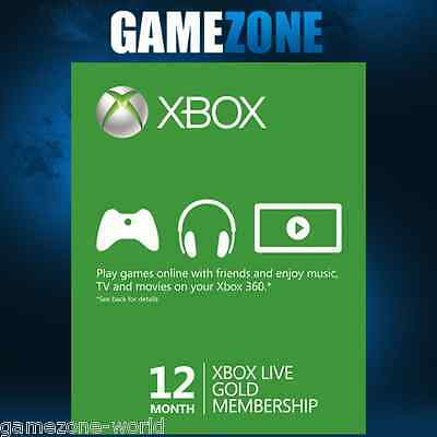 Xbox LIVE 12 Month Gold Membership For Microsoft Xbox One / Xbox 360