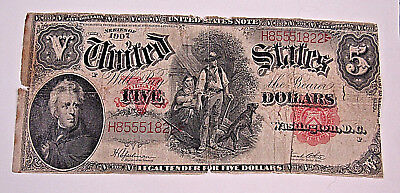 1907 $5 Woodchopper Legal Tender United States Large Note - Red Seal