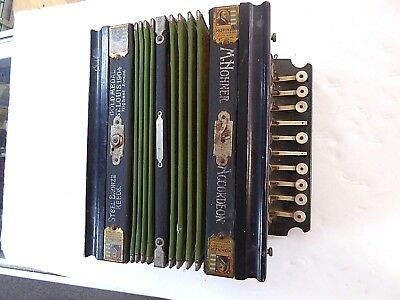 Antique Squeeze Box M. Hohner Accordion St. Louis Gold Medal Bronze Working