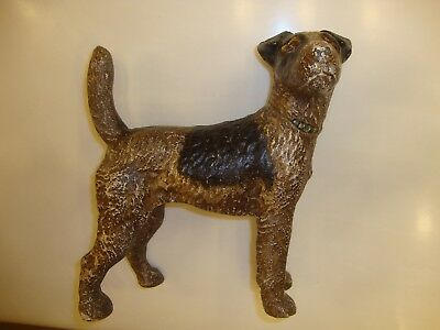 Antique Hubley Cast Iron Fox Terrier Dog Doorstop 1920's - 1930's, Side Facing