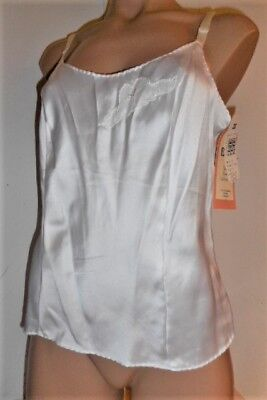 Vintage Bali  Glossy White Satin Flower Collection Camisole 36 ~ Nwt