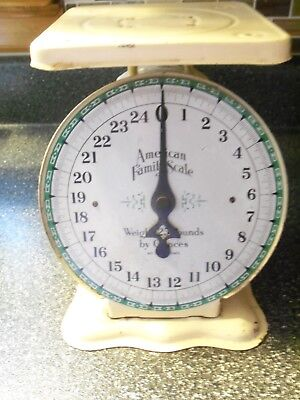 Vintage Origianl American Family Kitchen Scale Yellow -  25 Lbs by ounces