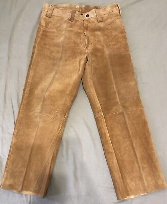 Vintage 1960s Levi's Big E Tan Suede Bell Bottom Hippie Pants Mens Sz 28