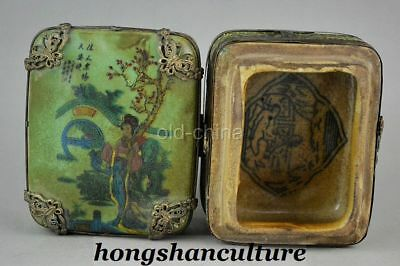 CHINESE COLLECTIBLE HANDWORK OLD PORCELAIN COLORED DRAWING WOMEN ROUGE BOX zrf