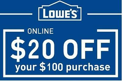 Lowes $20 off $100 - Coupon Code - expires 12/27/17