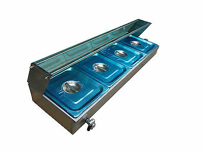 New 4 X 1/2' Pan Stainless Steel Electic Bain Marie Trays+Polycarb Cover Instock