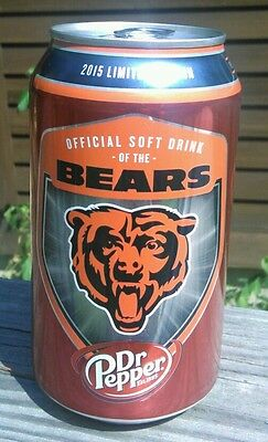 1 Full~ Dr Pepper CAN ~ Official Soft Drink Of The Bears ~ 2015 (id: a)