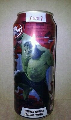 1 Full ~ DR. PEPPER ~ Hulk ~ 16 oz Soda CAN ~ From Canada but shipped from US