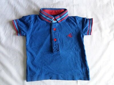 Next Boys Blue 100% Cotton Short Sleeve Polo T-Shirt Size 6-9 Months