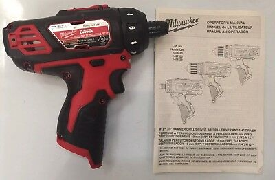 "NEW MILWAUKEE 2406-20 M12 12V 12 Volt Lithium-Ion 1/4"" Hex 2 Speed Screwdriver"