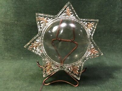 1800s Fine Victorian GOOFUS GLASS PICTURE FRAME Star Magnifier w/ Wire Stand