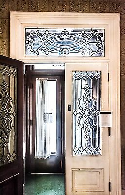 Antique Double Entry Foyer Doors Leaded Glass Transom Architectural Salvage