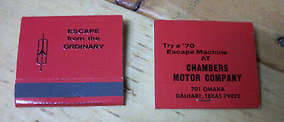 1970 Oldsmobile Escape From The Ordinary Matchbooks Chambers Motors Texas