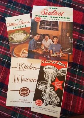 Vintage 1940's Sealtest Food Advisor Kitchen Measures Recipes Lot of 4 Booklets