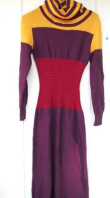 VINTAGE 1970's FULL LENGTH KNIT WOMEN'S MOD DRESS MUTLI-COLOR SIZE 11 MADE ITALY